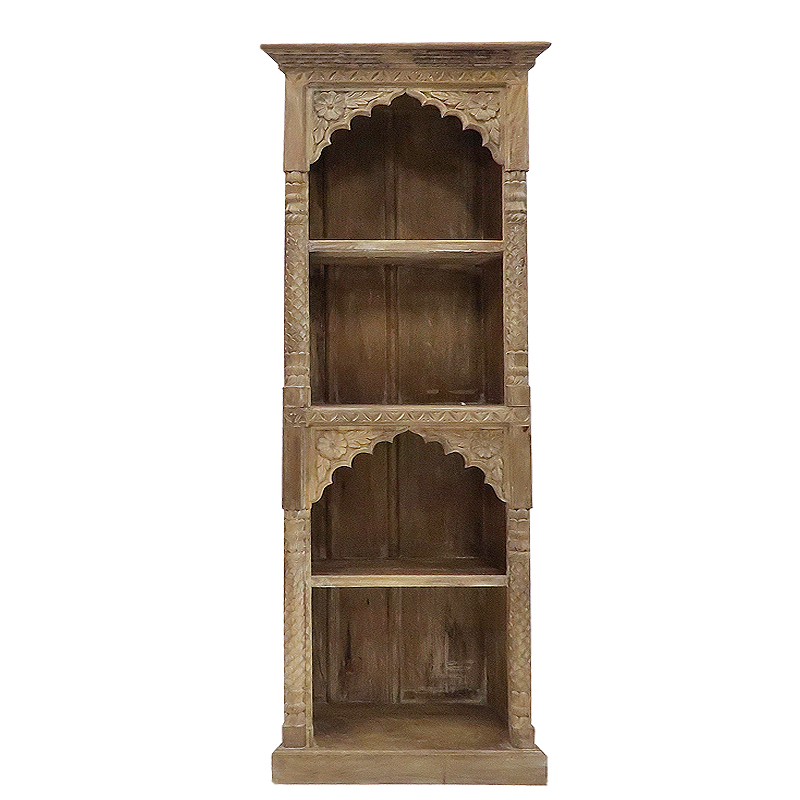 Carved Bookcase W 4 Shelves